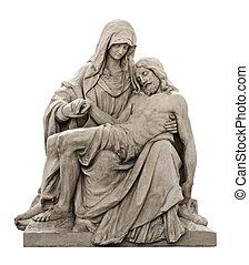 La estatua de Mary llorando por Jesucristo