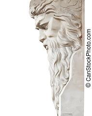La estatua de Neptuno está aislada en blanco. Vector