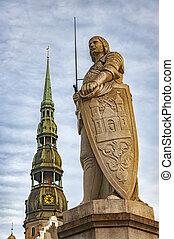 La estatua de Riga Saint Roland