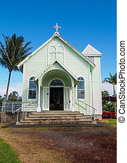 La estrella histórica del mar pintó la iglesia en hilo hawaii