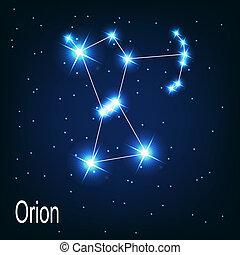 """La estrella """"Orión"""" en el cielo nocturno. Ilustración del vector"""
