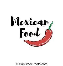 La etiqueta Chili Pepper. Comida de México. Ilustración tradicional de vectores de cocina mexicanos aislados en blanco