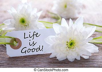 La etiqueta con la vida es buena