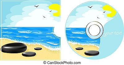 La etiqueta de CD con vista al mar