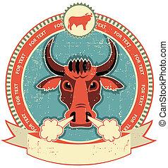 La etiqueta de la cabeza de toro en la vieja textura de papel