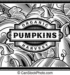 La etiqueta de la cosecha de calabazas Retro en blanco y negro