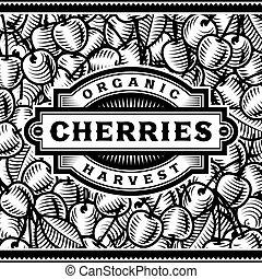 La etiqueta de la cosecha de cerezas en blanco y negro