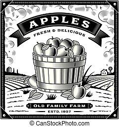 La etiqueta de la cosecha de manzanas con paisajes blancos y negros