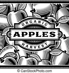 La etiqueta de la cosecha de manzanas en blanco y negro