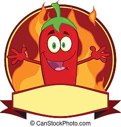 La etiqueta de la pimienta roja