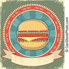 La etiqueta de las hamburguesas está en la vieja textura de papel