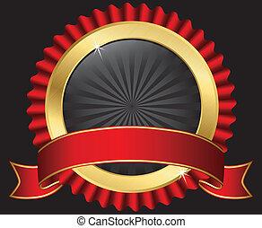 La etiqueta de oro con cinta roja, vecto
