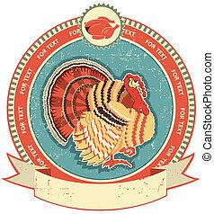 La etiqueta de Turquía en la vieja textura de papel