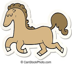 La etiqueta de un caballo de dibujos animados