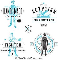 La etiqueta de vestimenta del vector y la placa