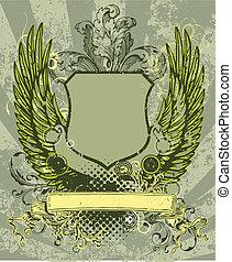 La etiqueta del escudo retro.