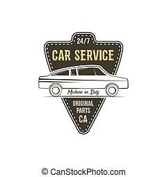 La etiqueta del servicio de coches. Gráficos de diseño de camisetas antiguas, huellas de tipografía de colores retro. Tarjeta de camiseta aduana, camiseta gráfica. Usar como emblema, logo en la web. Vector