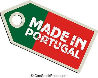 La etiqueta del vector está hecha en Portugal