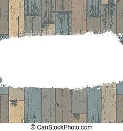 La etiqueta grunge blanca sobre fondo de madera. Vector