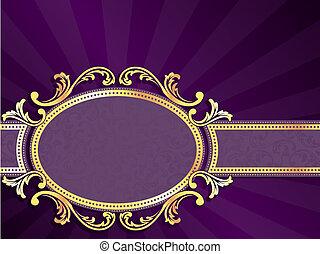 La etiqueta horizontal púrpura y dorada