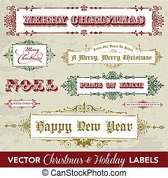 La etiqueta navideña del vector