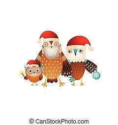 La familia de los búhos felices está lista para las fiestas de Navidad con sombreros de Santa