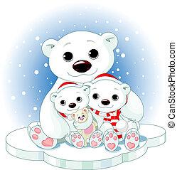 La familia de osos polares de Navidad