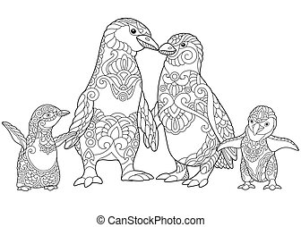 La familia de pingüinos estilizados Zentangle