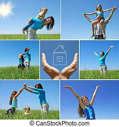 La familia feliz al aire libre en verano