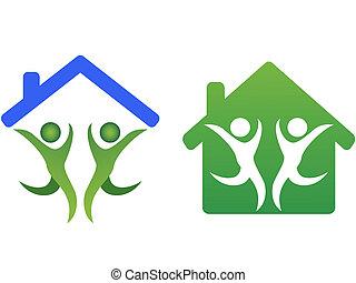 La familia feliz y el ícono del concepto de casa