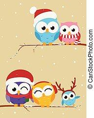 La familia Owl en la pancarta de Navidad de la sucursal