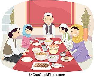 La familia Stickman comiendo musulmanes