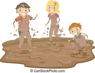 La familia Stickman jugando en el barro