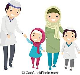 La familia Stickman Musulmán camina ilustración