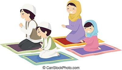 La familia Stickman Musulmán reza ilustración