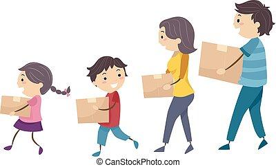 La familia Stickman porta cajas camina