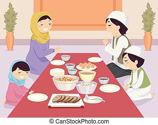 La familia Stickman reza antes de comer
