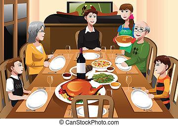 La familia tiene una cena de Acción de Gracias
