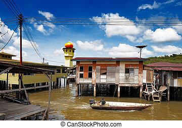 La famosa aldea de agua de Brunei