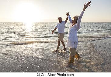 La feliz pareja de ancianos con las manos en la playa del sol