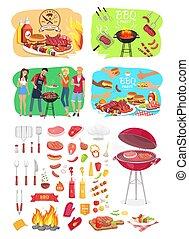 La fiesta de la parrilla BBQ indica ilustración vectorial