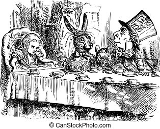 La fiesta del té de los Sombrereros Locos, Alice en Wonderland original vintage