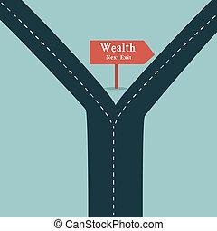 La flecha de la ruta de la riqueza muestra el concepto del negocio de la fortuna y el símbolo de la libertad financiera con un camino recto o carretera.