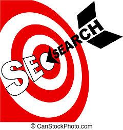 La flecha de optimización del motor de búsqueda golpea al blanco SEO