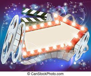 La flecha del cine señala un fondo abstracto