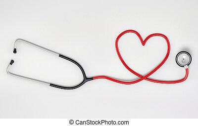 La forma del corazón del estetoscopio