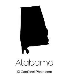 La forma ilustrada del estado de Alabama