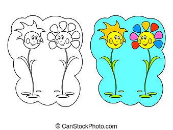 La foto para colorear. Flores.