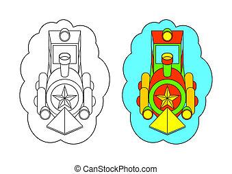 La foto para colorear. Locomotiv