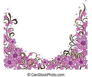 La frontera floral rosa decorativa